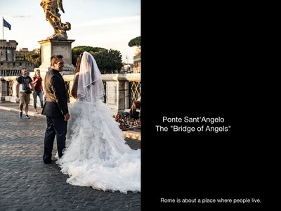 They strolled across the bridge past Castel Sant'Angelo. I lost them as they moved up Via della Conciliazione.